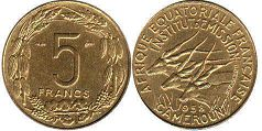 coin Cameroon 5 francs 1958