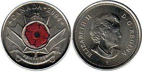 coin canadian commemorative coin 25 cents 2004