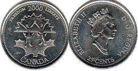 coin canadian commemorative coin 25 cents 2000