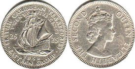coin British Caribbean Territories 25 cents 1955