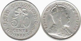 coin Ceylon 50 cents 1903