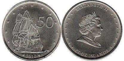 coin Cook Islands 50 cents 2010