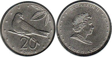 coin Cook Islands 20 cents 2010