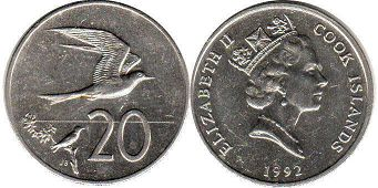 coin Cook Islands 20 cents 1992