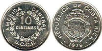coin Costa Rica 10 centimos 1979