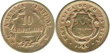 coin Costa Rica 10 centimos 1946