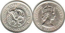 coin Cyprus 25 mils 1955