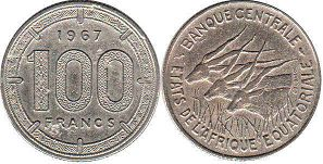 coin Equatorial African States 100 francs 1967