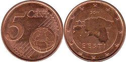 coin Estonia 5 euro cent  2014