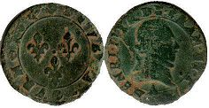 coin France double denier 1591-1593