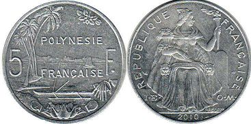 coin French Polynesia 5 francs 2010
