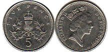 coin UK coin 5 pence 1991