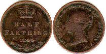 coin UK old coin1/2 farthing 1844
