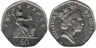 coin UK coin 50 pence 1997