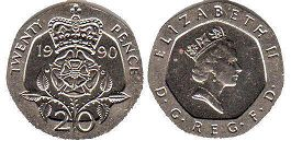 coin UK coin 20 pence 1990