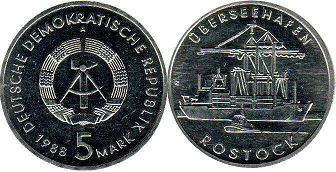 coin East Germany 5 mark 1988