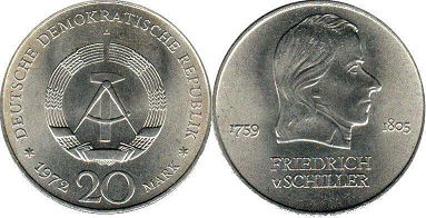 coin East Germany 20 mark 1972