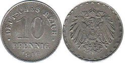 coin German Empire 10 pfennig 1916