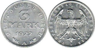 coin German Weimar 3 mark 1922