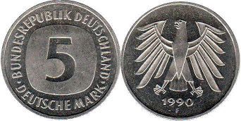 coin Germany 5 mark 1990
