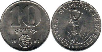coin Hungary 10 forint 1981