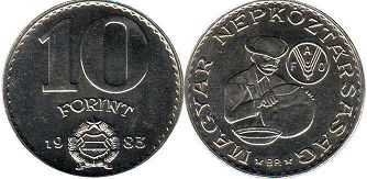 coin Hungary 10 forint 1983