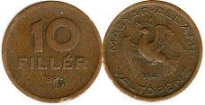 coin Hungary 10 filler 1947