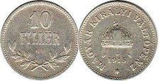 coin Hungary 10 filler 1915