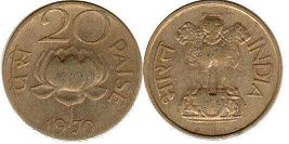 coin India 20 paise 1970