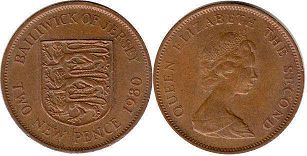 coin Jersey 2 new pence 1980