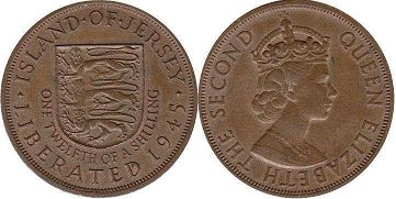 coin Jersey 1/12 shilling ND (1954)