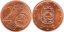 coin Latvia 2 euro cents 2014