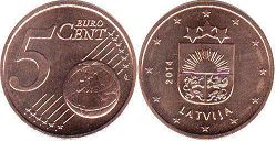 coin Latvia 5 euro cents 2014