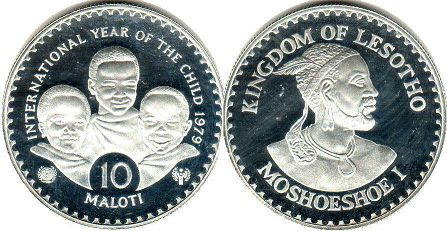 coin Lesotho 10 maloti 1979 Year of the Child