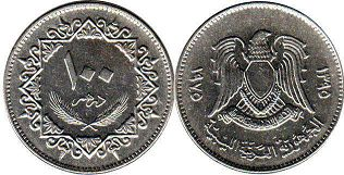 coin Libya 100 dirhams 1975
