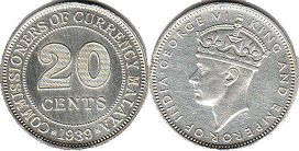 coin Malaya 20 cents 1939