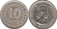 coin Malaya 10 cents 1960
