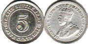 coin Straits Settlements 5 cents 1935