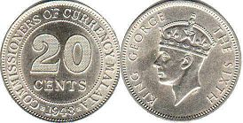 coin Malaya 20 cents 1948