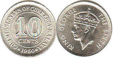 coin Malaya 10 cents 1939