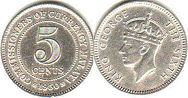 coin Malaya 5 cents 1950