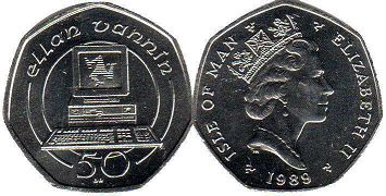 coin Isle of Man 50 pence 1989