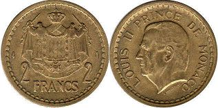 coin Monaco 2 francs ND (1945)