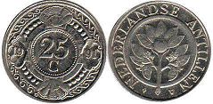 coin Netherlands Antilles 25 cents 1991