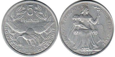 coin New Caledonia 5 francs 1952