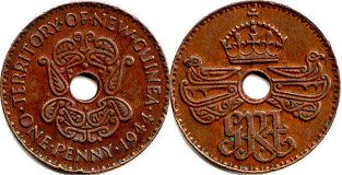 coin New Guinea 1 penny 1944