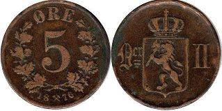 coin Norway 5 ore 1876