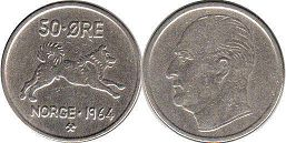coin Norway 50 ore 1964