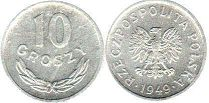 coin Poland 10 groszy 1949