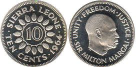 coin Sierra Leone 10 cents 1964